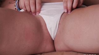 Puffy Jillian Janson stretches her pussy through a panties solo xxx video