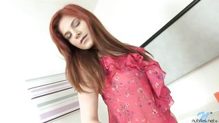 Marvelous redhead playgirl Charlotte Reed on her knees giving a lengthy enthusiatic head