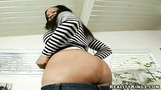 Playmate gladly gropes stunning ebony diva Tia Cherry's tits while fucking her