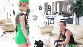 Blowing a meat that was just inside of dishy young woman Alina West beaver