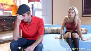Bf got a deep blowjob from admirable blonde floosy Aubrey Gold and the he fucked her brains out