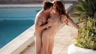 Pal has his large meat swallowed by horny redhead Michelle
