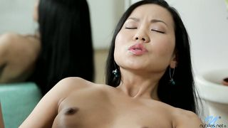 Playful bitch Sayuri enjoys riding a lever extremely wild and hard