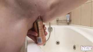 Petite redhead Auburn masturbates using a shower solo xxx video