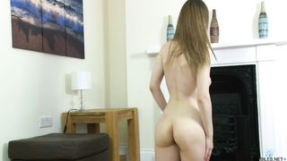 Shy brunette 18 year old Stella Cox shows her big boobs solo