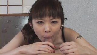 Shameless Tomoka Matsunami gets stuffed with hard slim jim