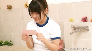 Sensual teen Tsugumi Mutou is having gentle sex in front of the camera just for fun