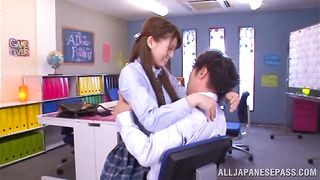 Engaging darling Harumi Tachibana sucks and rides her boy toy guy