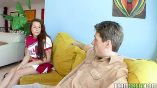 Prurient teen gf Talia Palmer with big natural tits blows and rides raging dink