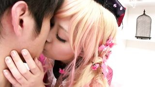 Engaging busty teen Miki Sunohara performs an enthusiastic blowjob one on one